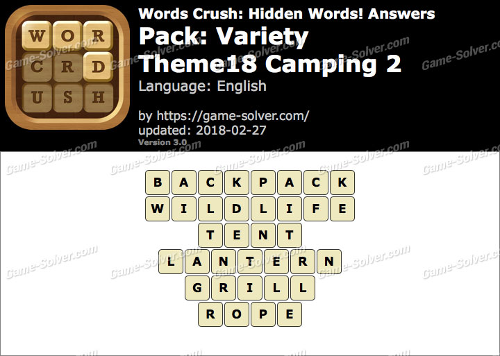 Words Crush Variety-Theme18 Camping 2 Answers