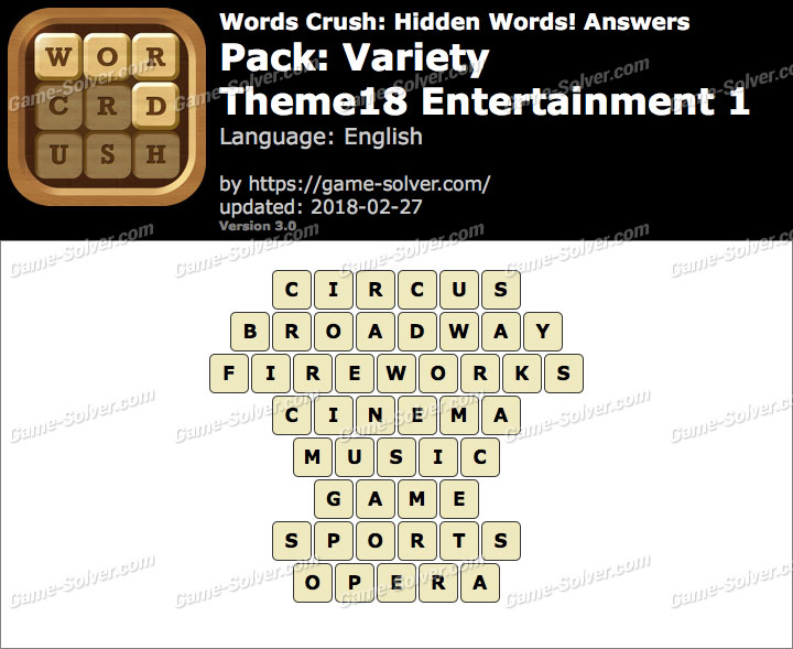 Words Crush Variety-Theme18 Entertainment 1 Answers