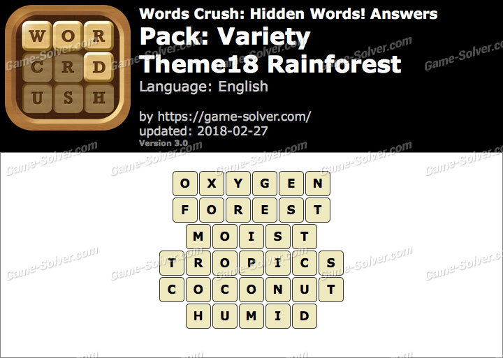 Words Crush Variety-Theme18 Rainforest Answers