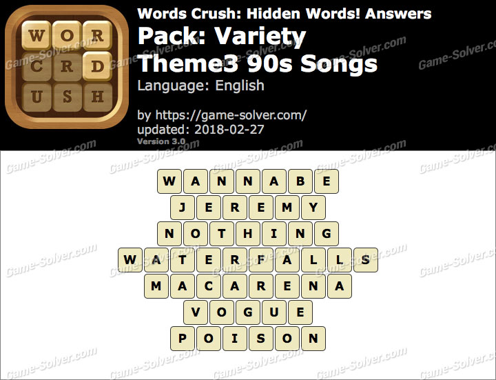 Words Crush Variety-Theme3 90s Songs Answers
