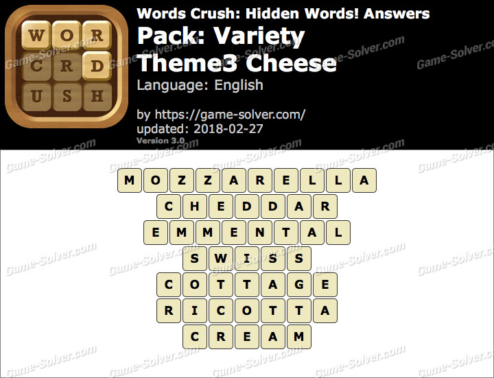 Words Crush Variety-Theme3 Cheese Answers