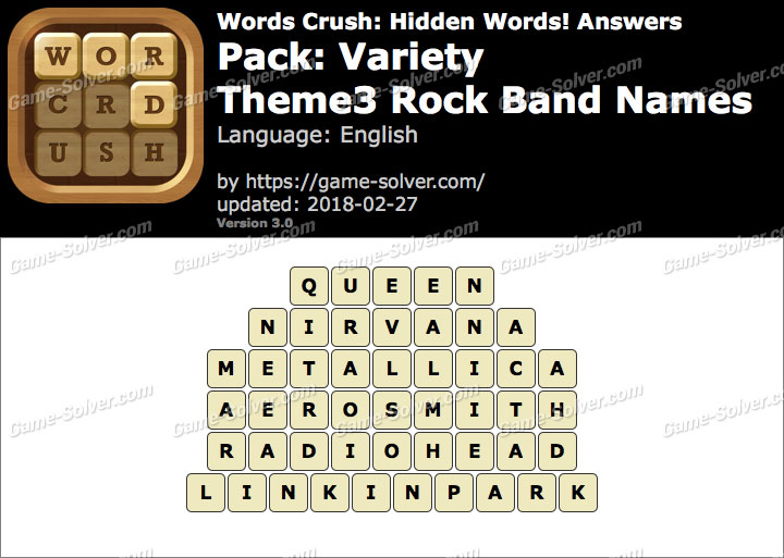 Words Crush Variety-Theme3 Rock Band Names Answers