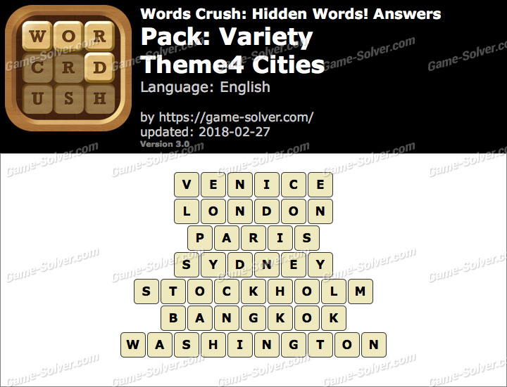 Words Crush Variety-Theme4 Cities Answers