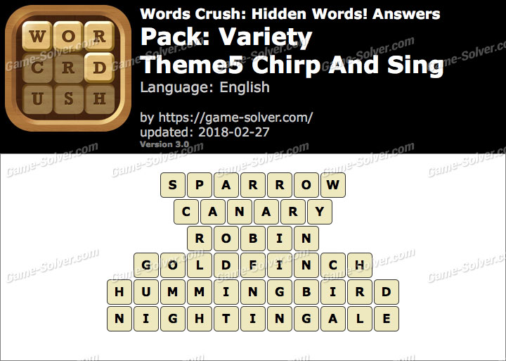 Words Crush Variety-Theme5 Chirp And Sing Answers