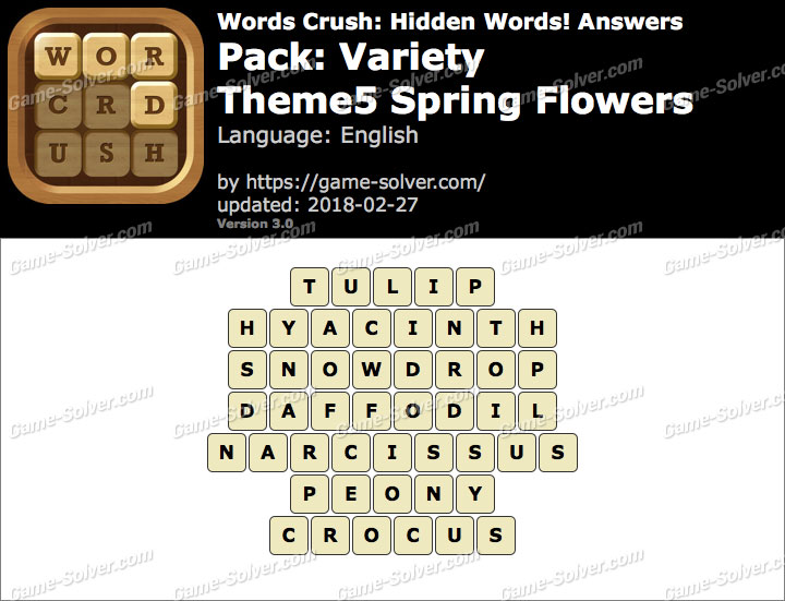 Words Crush Variety-Theme5 Spring Flowers Answers