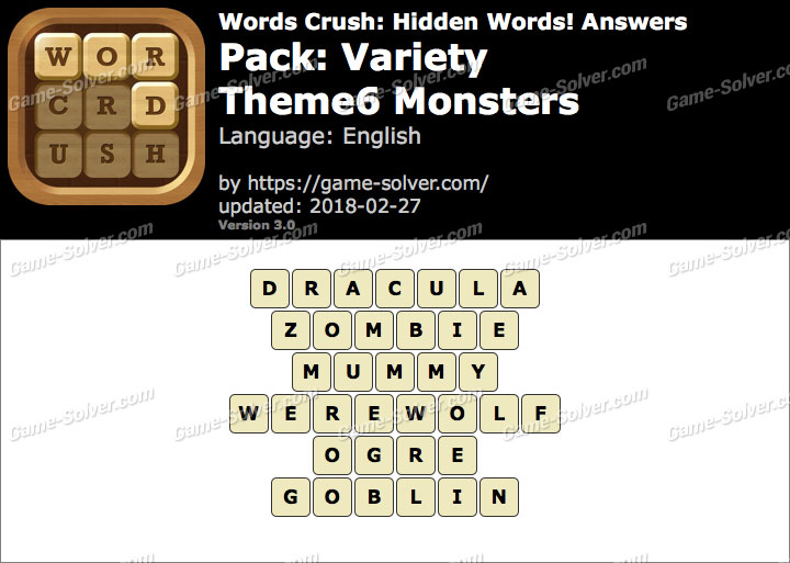 Words Crush Variety-Theme6 Monsters Answers
