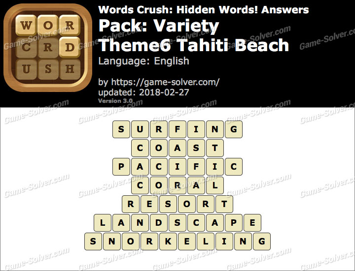 Words Crush Variety-Theme6 Tahiti Beach Answers
