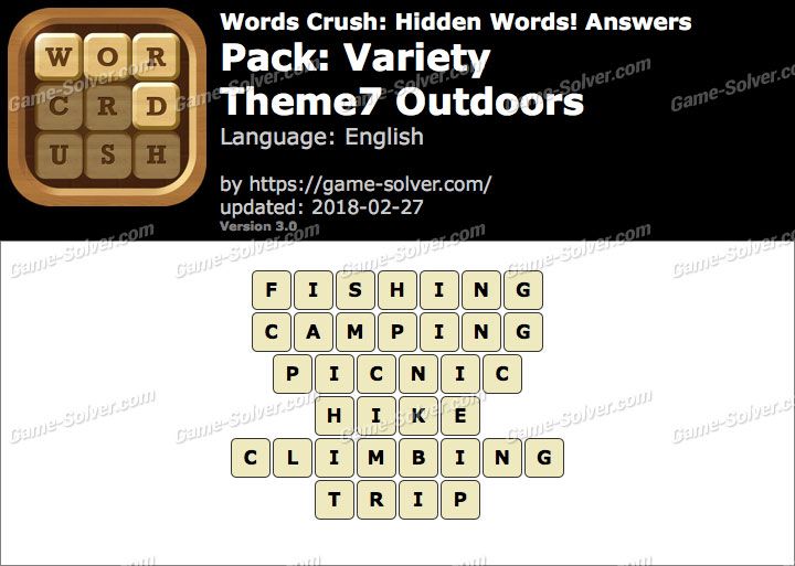 Words Crush Variety-Theme7 Outdoors Answers