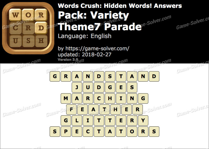 Words Crush Variety-Theme7 Parade Answers