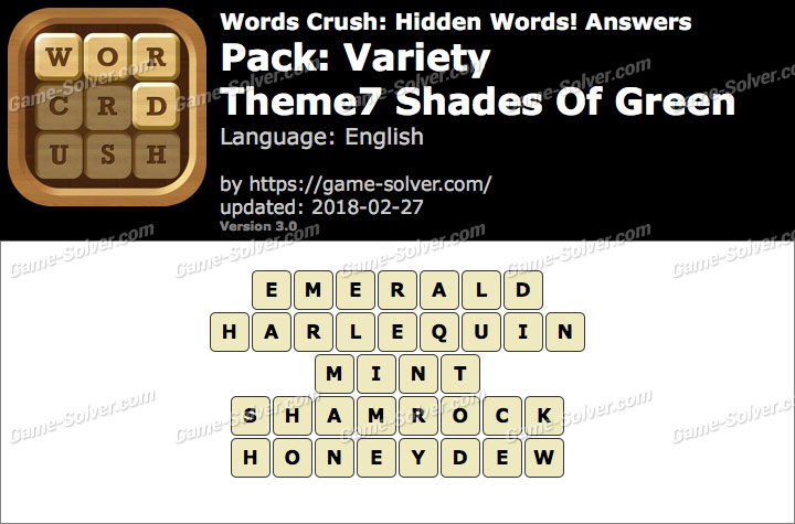 Words Crush Variety-Theme7 Shades Of Green Answers