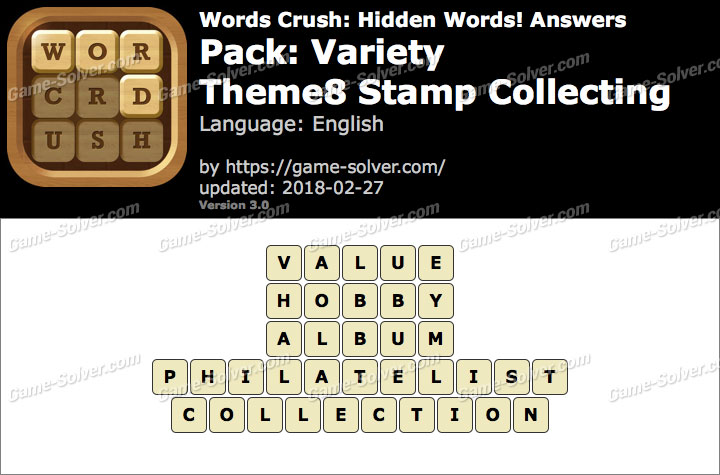 Words Crush Variety-Theme8 Stamp Collecting Answers