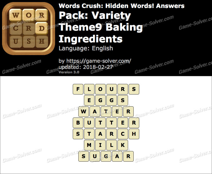 Words Crush Variety-Theme9 Baking Ingredients Answers