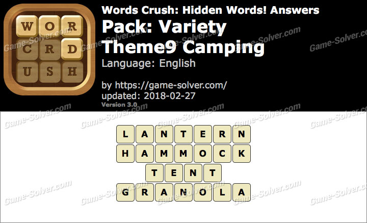 Words Crush Variety-Theme9 Camping Answers