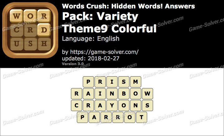 Words Crush Variety-Theme9 Colorful Answers