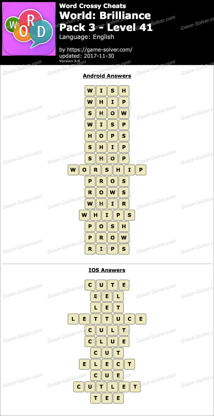 Word Crossy Brilliance Pack 3 Level 41 Answers  Game Solver