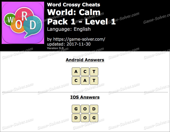 Word Crossy Calm Pack 1 Level 1 Answers