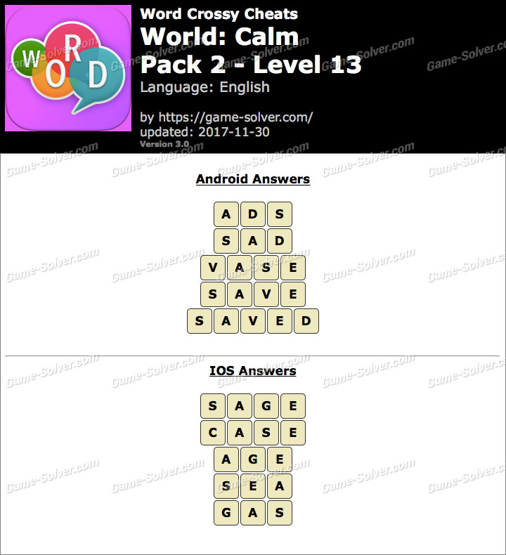 Word Crossy Calm Pack 2 Level 13 Answers