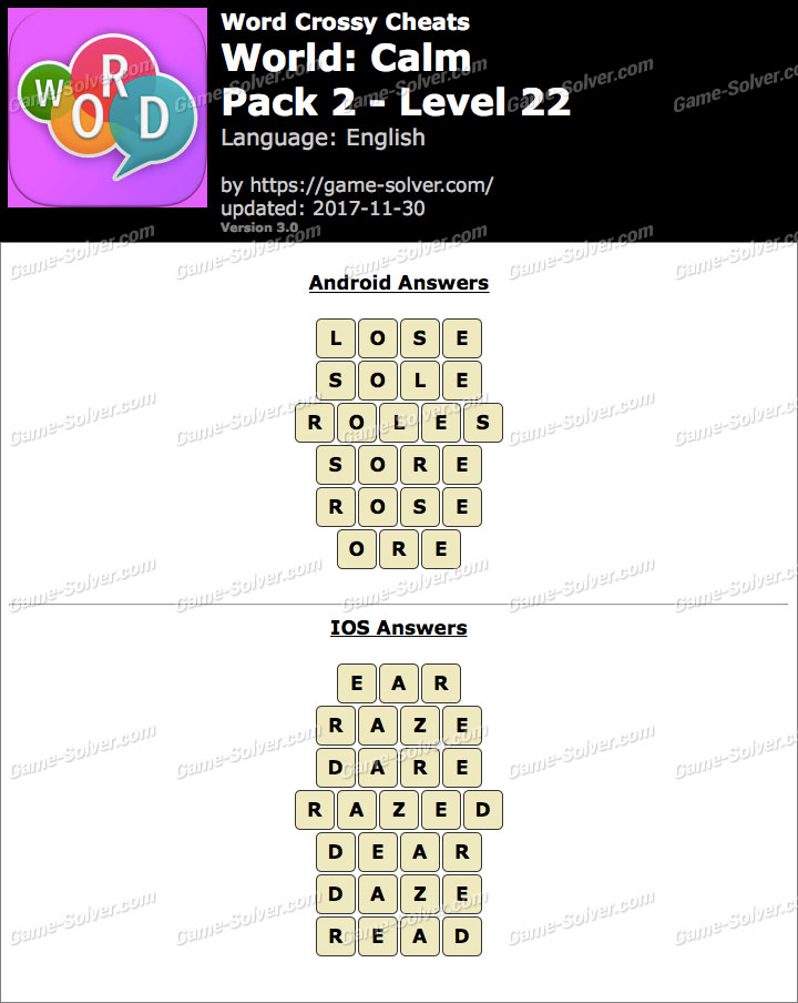 Word Crossy Calm Pack 2 Level 22 Answers