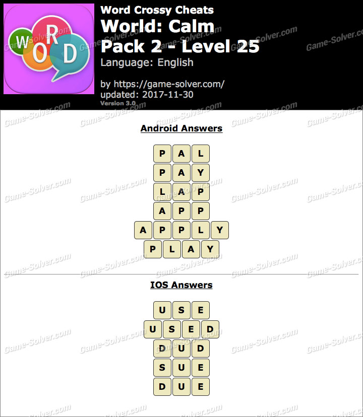 Word Crossy Calm Pack 2 Level 25 Answers