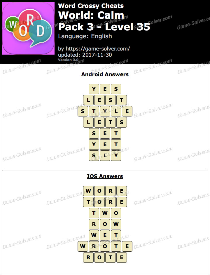 Word Crossy Calm Pack 3 Level 35 Answers