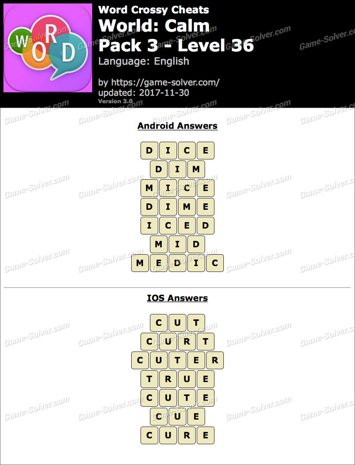 Word Crossy Calm Pack 3 Level 36 Answers