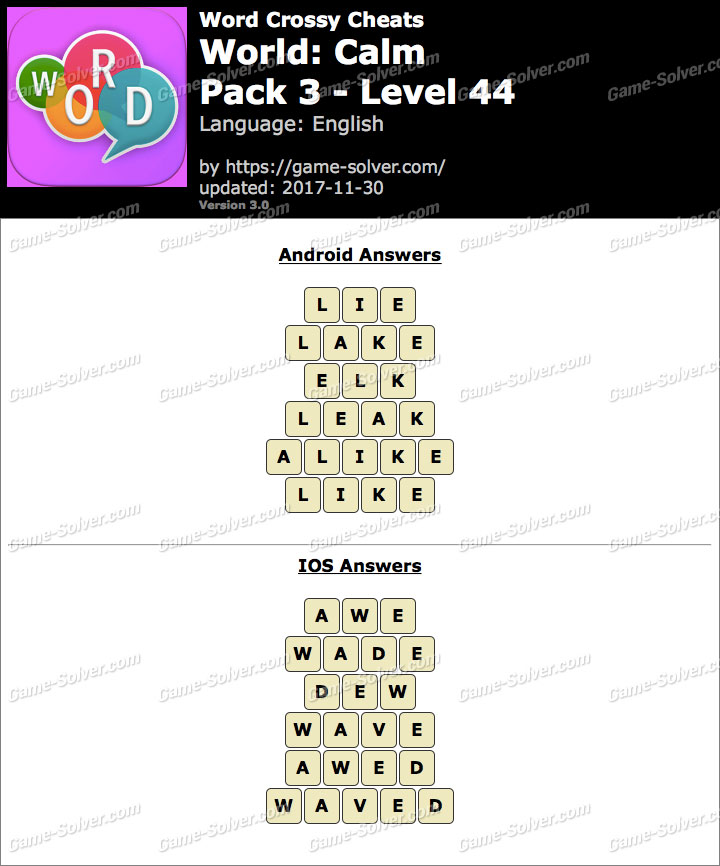 Word Crossy Calm Pack 3 Level 44 Answers