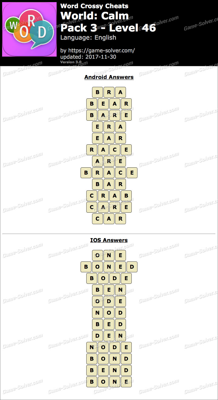 Word Crossy Calm Pack 3 Level 46 Answers