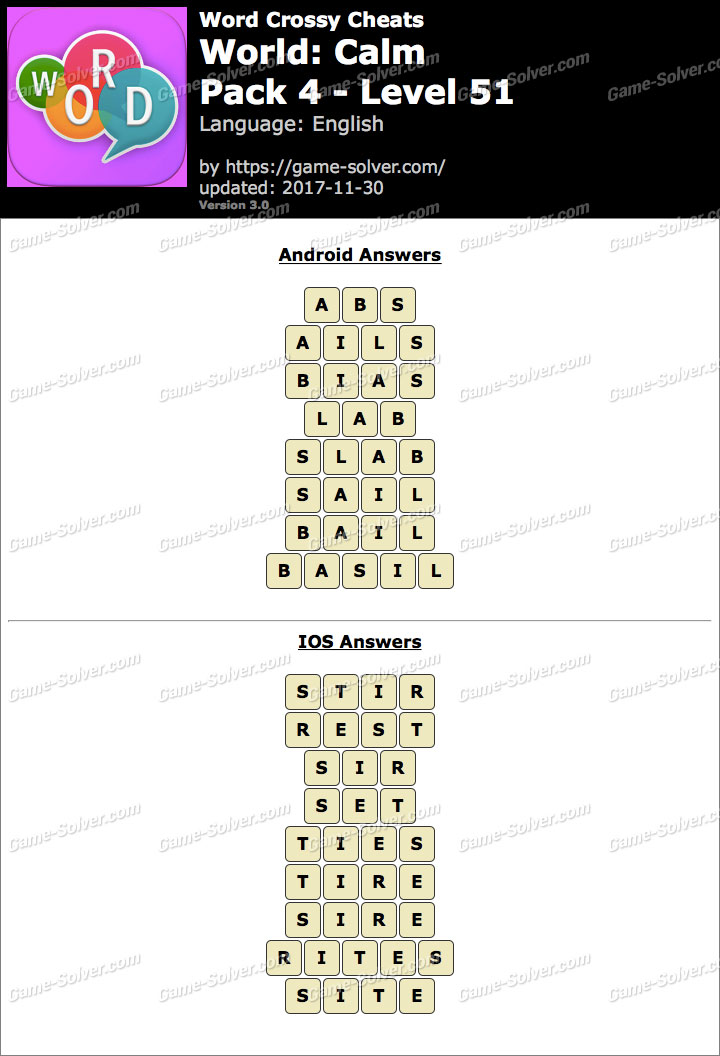 Word Crossy Calm Pack 4 Level 51 Answers