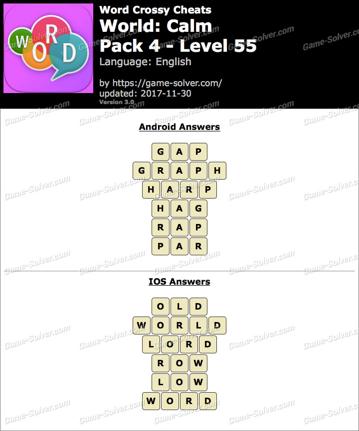 Word Crossy Calm Pack 4 Level 55 Answers