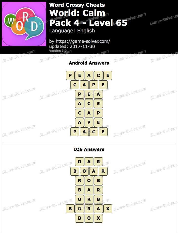 Word Crossy Calm Pack 4 Level 65 Answers