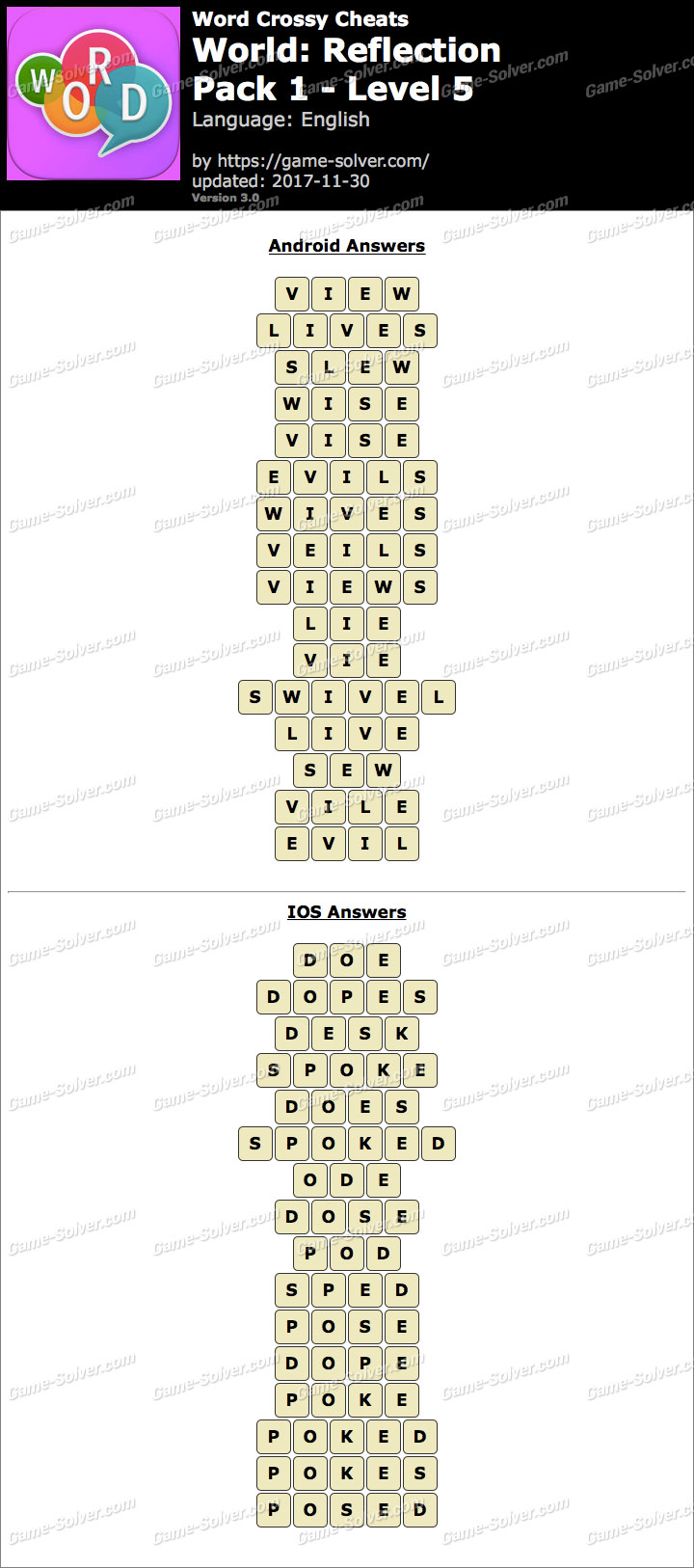 Word Crossy Reflection Pack 1 Level 5 Answers  Game Solver