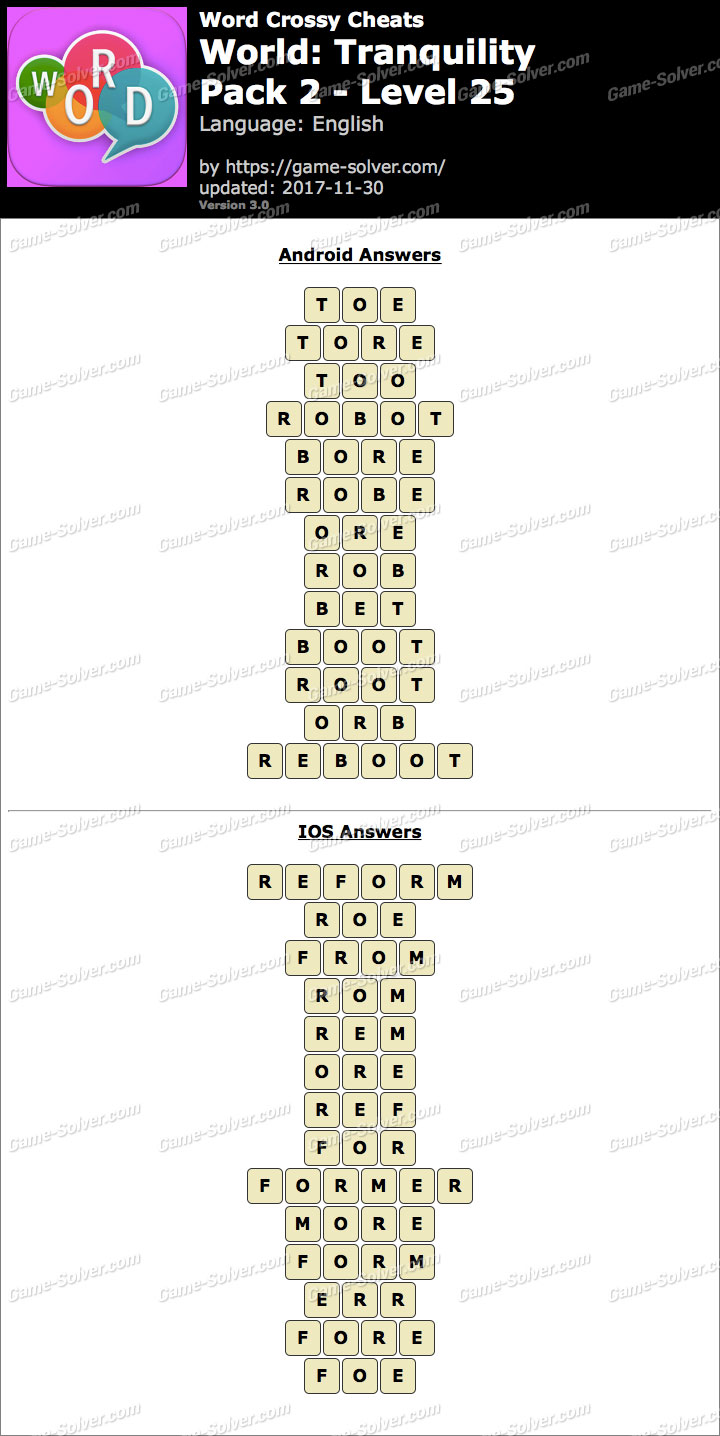Word Crossy Tranquility Pack 2 Level 25 Answers  Game Solver