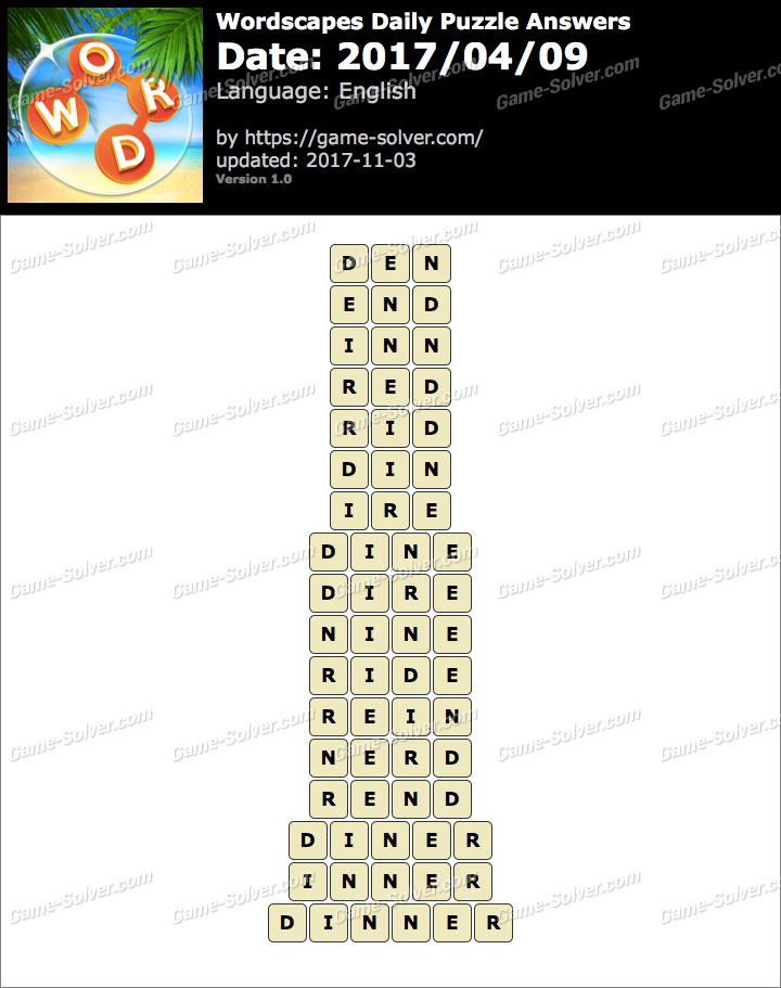 Wordscapes Daily Puzzle 2017 April 09 Answers