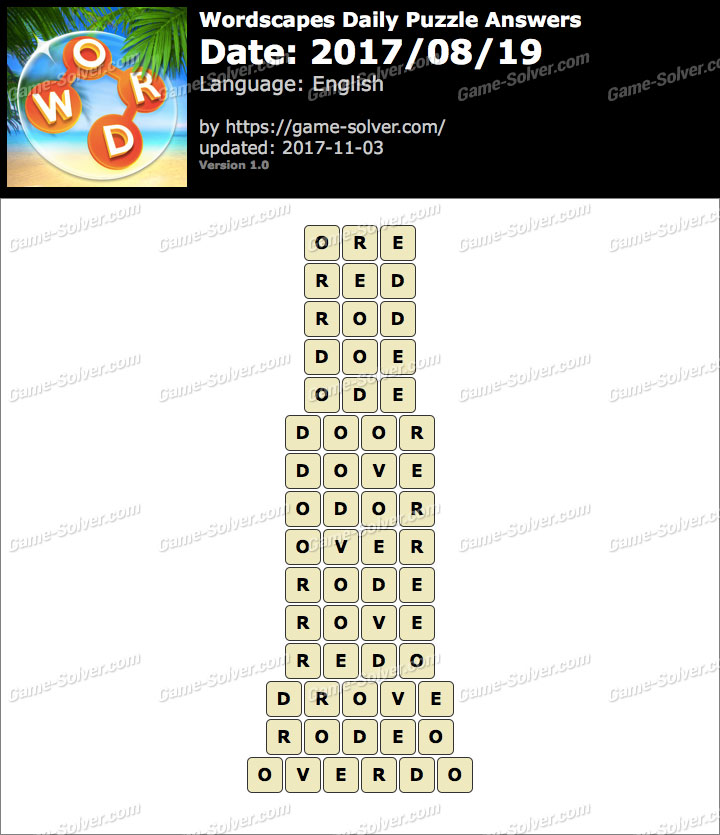 Wordscapes Daily Puzzle 2017 August 19 Answers