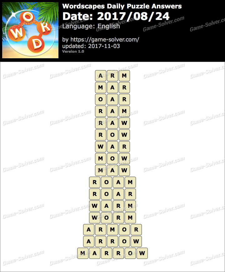 Wordscapes Daily Puzzle 2017 August 24 Answers