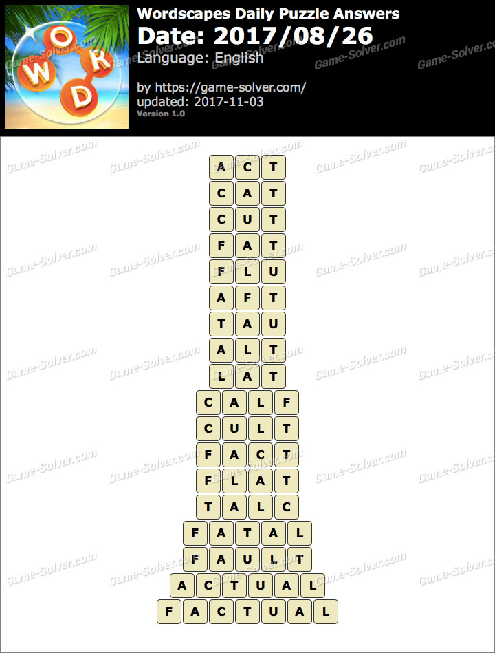 Wordscapes Daily Puzzle 2017 August 26 Answers