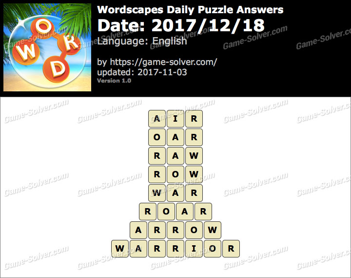 Wordscapes Daily Puzzle 2017 December 18 Answers