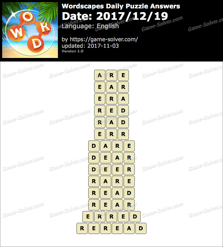 Wordscapes Daily Puzzle 2017 December 19 Answers