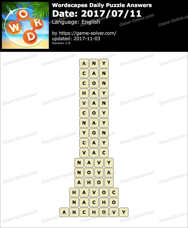 Wordscapes Daily Puzzle 2017 July 11 Answers