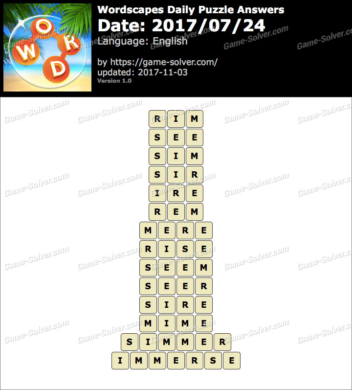 Wordscapes Daily Puzzle 2017 July 24 Answers