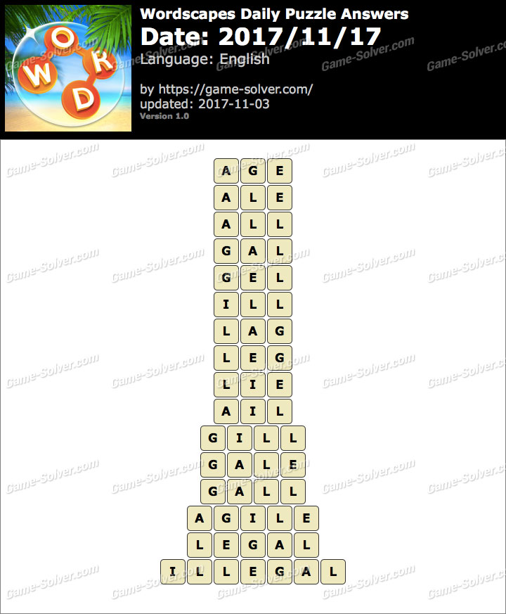 Wordscapes Daily Puzzle 2017 November 17 Answers