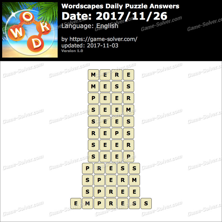 Wordscapes Daily Puzzle 2017 November 26 Answers