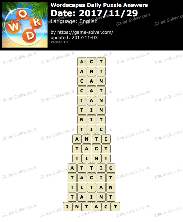 Wordscapes Daily Puzzle 2017 November 29 Answers