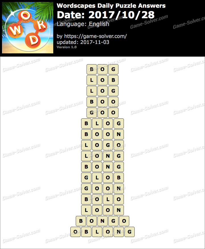 Wordscapes Daily Puzzle 2017 October 28 Answers