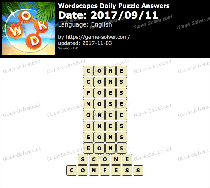 Wordscapes Daily Puzzle 2017 September 11 Answers