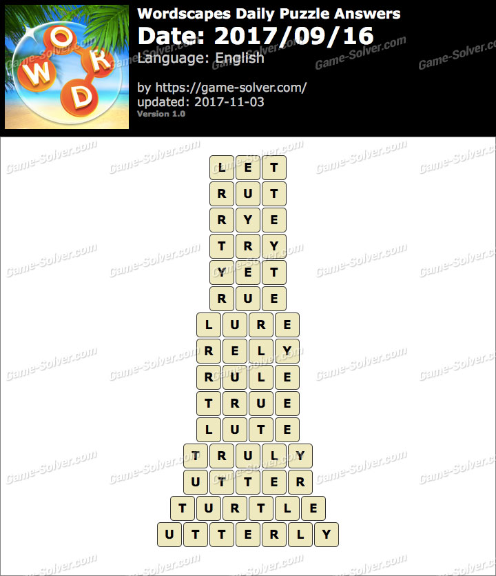 Wordscapes Daily Puzzle 2017 September 16 Answers