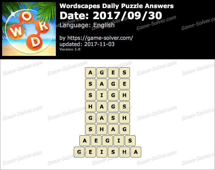 Wordscapes Daily Puzzle 2017 September 30 Answers