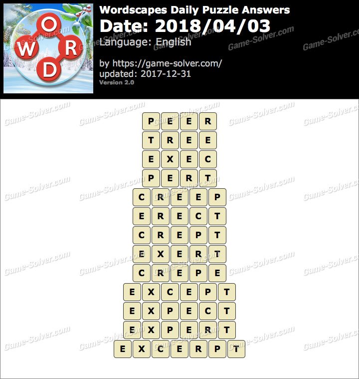 Wordscapes Daily Puzzle 2018 April 03 Answers