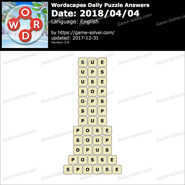 Wordscapes Daily Puzzle 2018 April 04 Answers