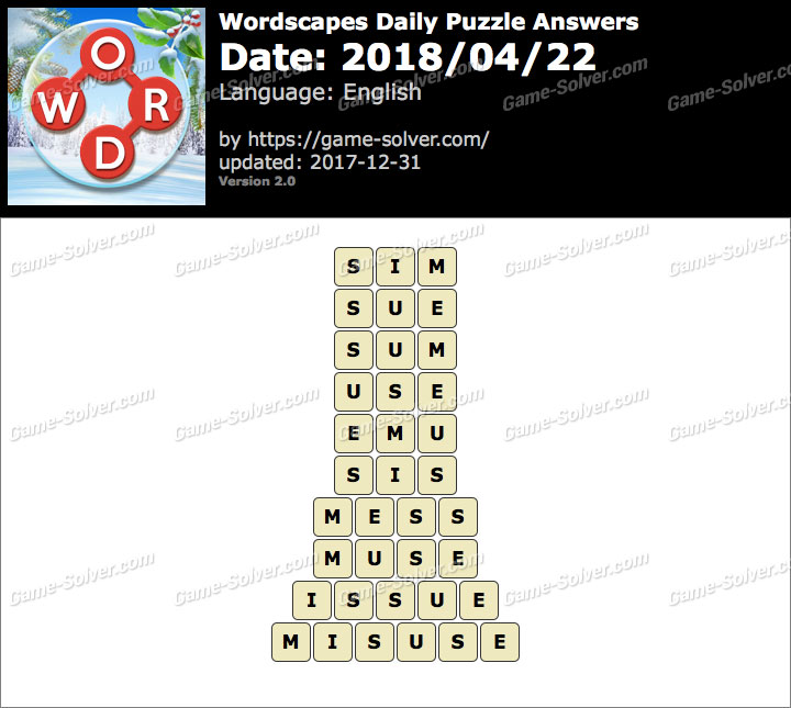 Wordscapes Daily Puzzle 2018 April 22 Answers